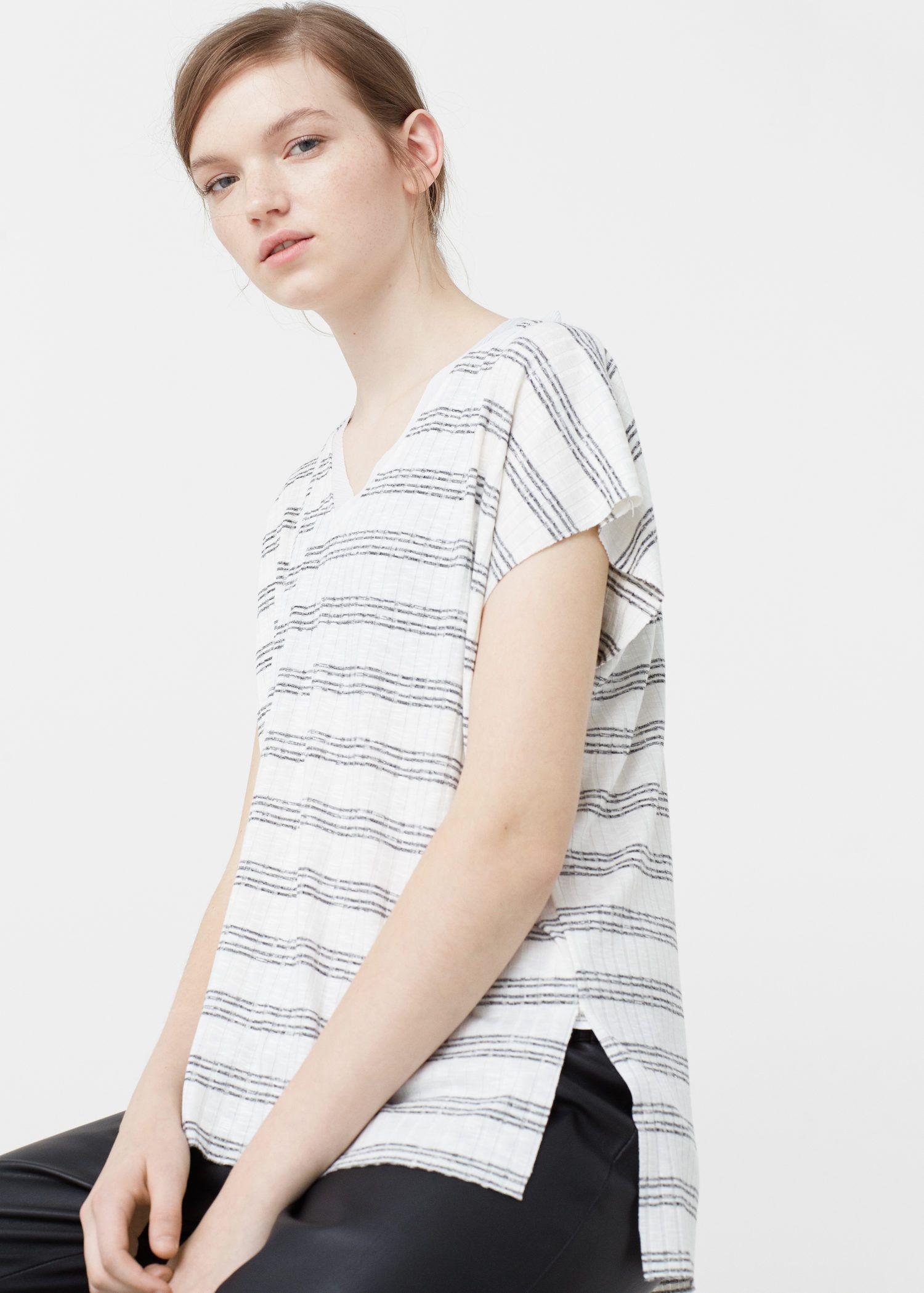 Camiseta rayas - Mujer | MANGO España