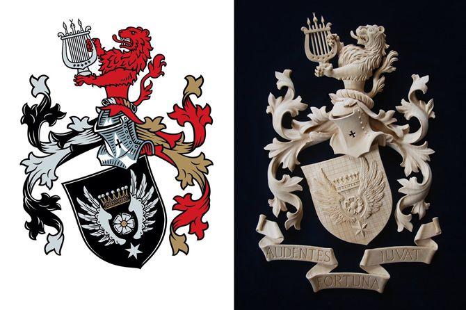 Heraldiek familiewapen alliantiewapen gemeentewapen in hout heraldisch wapen gesneden gesculpteerd familiewapen Houtsnijwerk op maat ornamentsnijder Patrik Damiaens