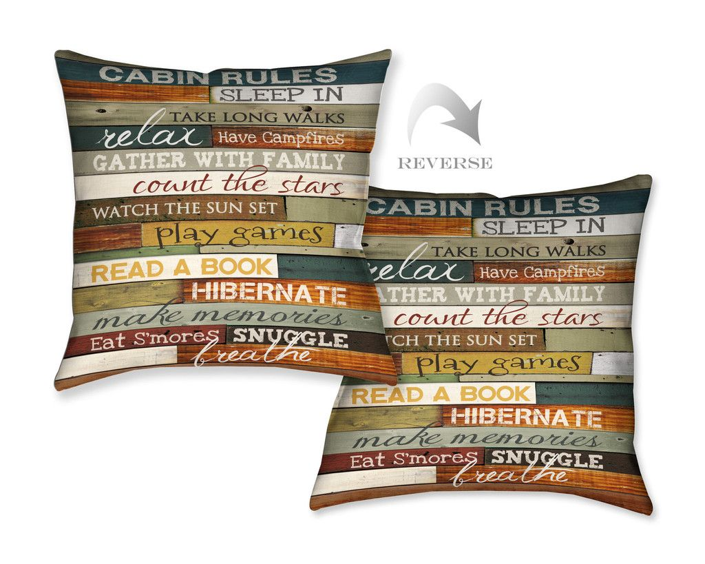 Cabin Rules Indoor Decorative Pillow