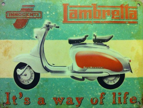 Vespa Italian Motor Scooters Tin Metal Poster Sign Vintage Ad Style Man Cave