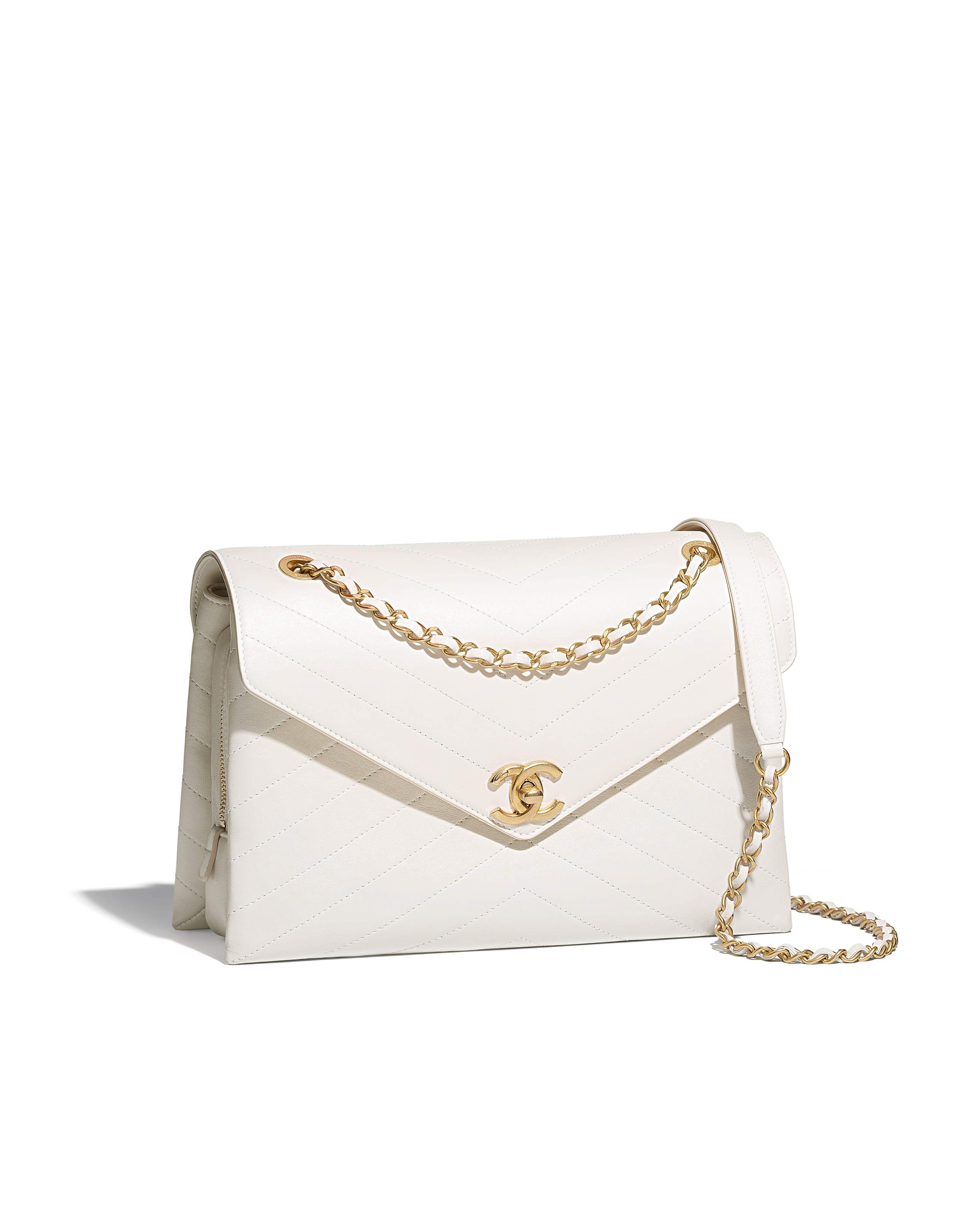 524e3a1307a8 SPRING-SUMMER 2018 - lambskin & gold-tone metal-white   Chanel bags ...