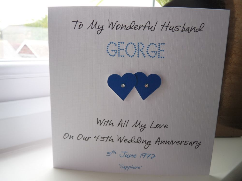 Handmade Personalised Sapphire 45th 65th Wedding