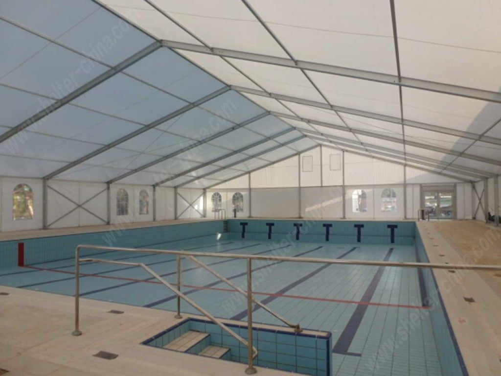 Event Tent for Sale-Swimming Pool.Used heavy duty A shape sport tent is the most good quality classic tent, with variety of size perfect for any events. 7 kinds of span as options including 10m/ 11m/ 15m/ 16m/ 20m/ 25m/26m and the length can be infinitely extended to enlarge space, and other series with different size and style is also provided to suit any event size .