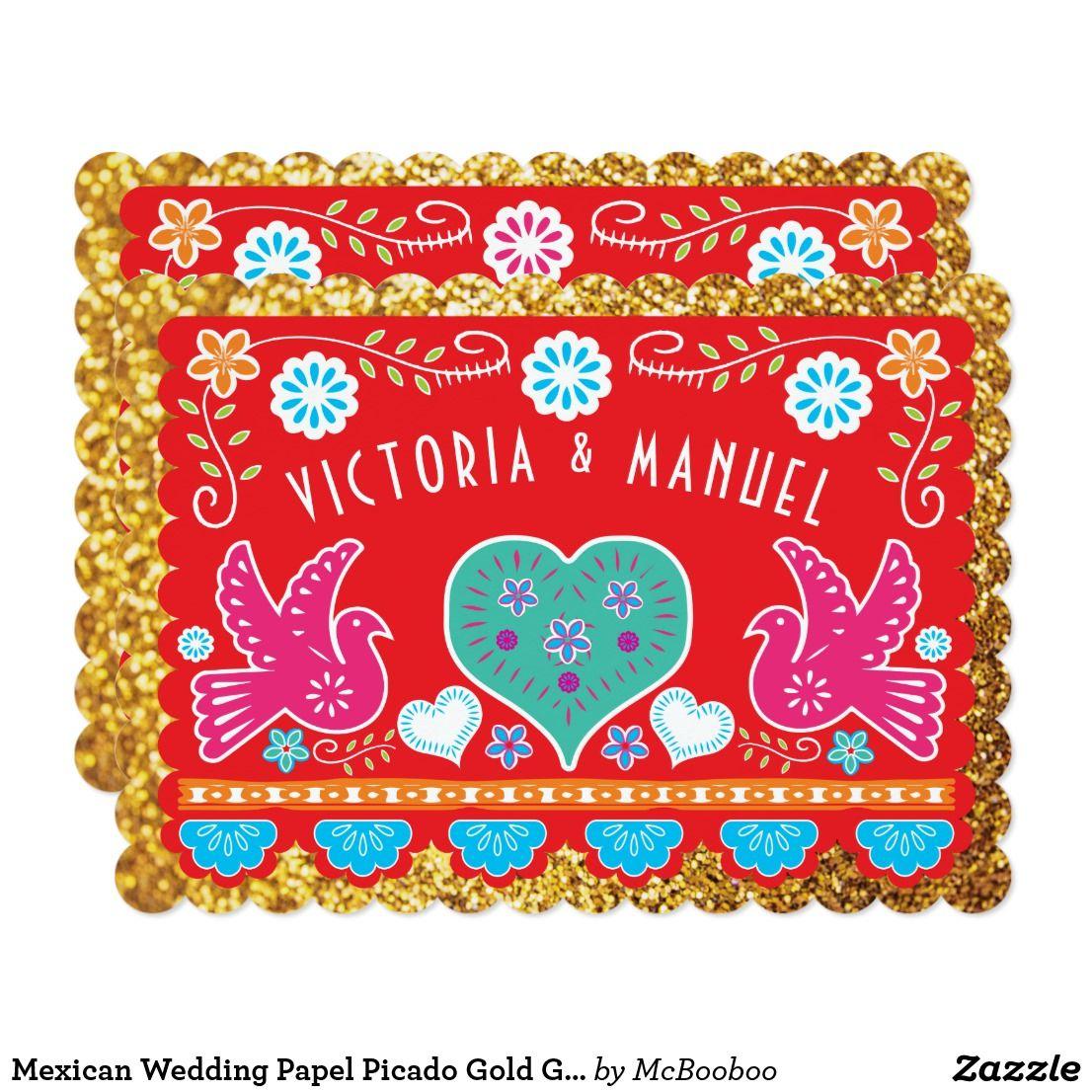 Mexican Wedding Papel Picado Gold Glitter Invitation | { Wedding ...