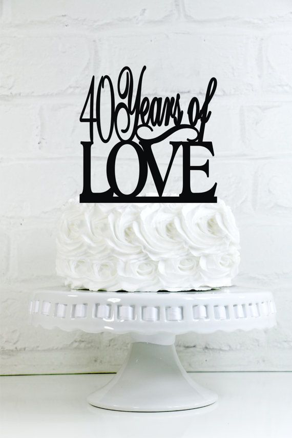 40 Years of Love 40th Anniversary or Birthday Cake by WyaleDesigns