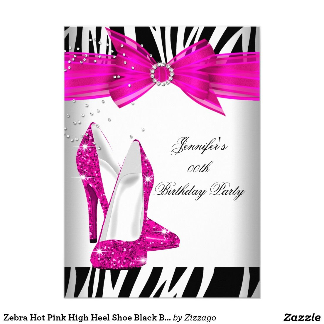 Zebra Hot Pink High Heel Shoe Black Birthday Party Card | Party ...