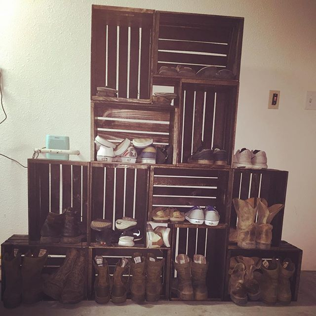 This is the awesome shoe rack that my man built out of crates. We got the crates at michaels and stained them, it may end up coming in the house as a shelf 😬 🍂 #diy #country #countryliving #southern #southernliving #farmhouse #decor #michaels #cratestyle #crate #farmhousestyle #shoerack #crateshoerack