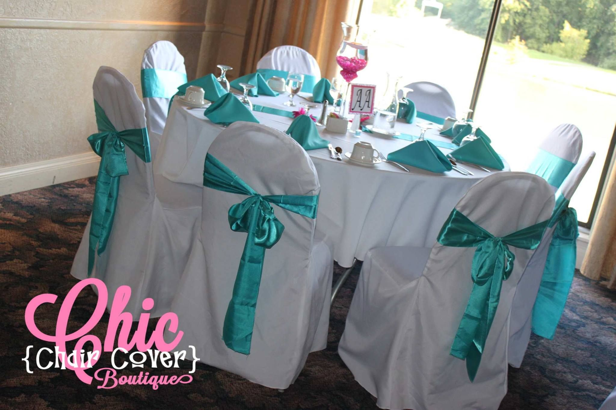 Charmant White Polyester Banquet Chair Covers, White Tablecloths, Light Turquoise  Chair Sashes And Table Runners, With Turquoise Polyester Napkins