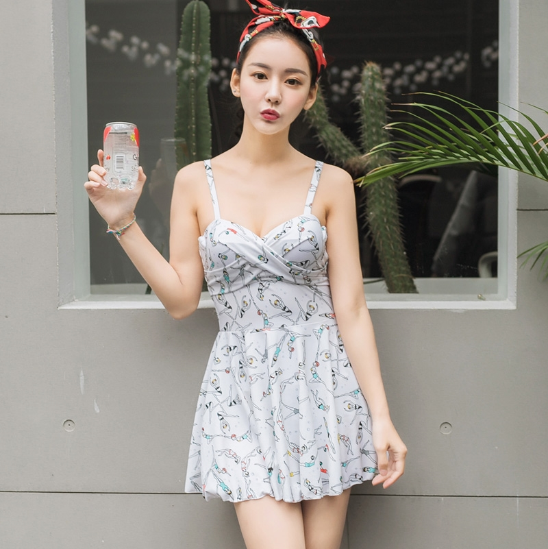 31.84$  Watch now - http://alighj.shopchina.info/go.php?t=32803202592 - One Piece Swimsuit Big Size Female Swimwear Sexy Swim Suits Cheap Bathing Korean Halter Skirt Floral Maillot De Bain  #magazineonlinebeautiful