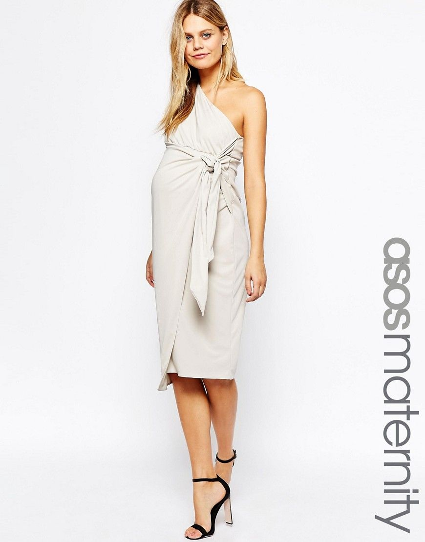 Image 1 of asos maternity drape knot front one shoulder midi image 1 of asos maternity drape knot front one shoulder midi pencil dress ombrellifo Images