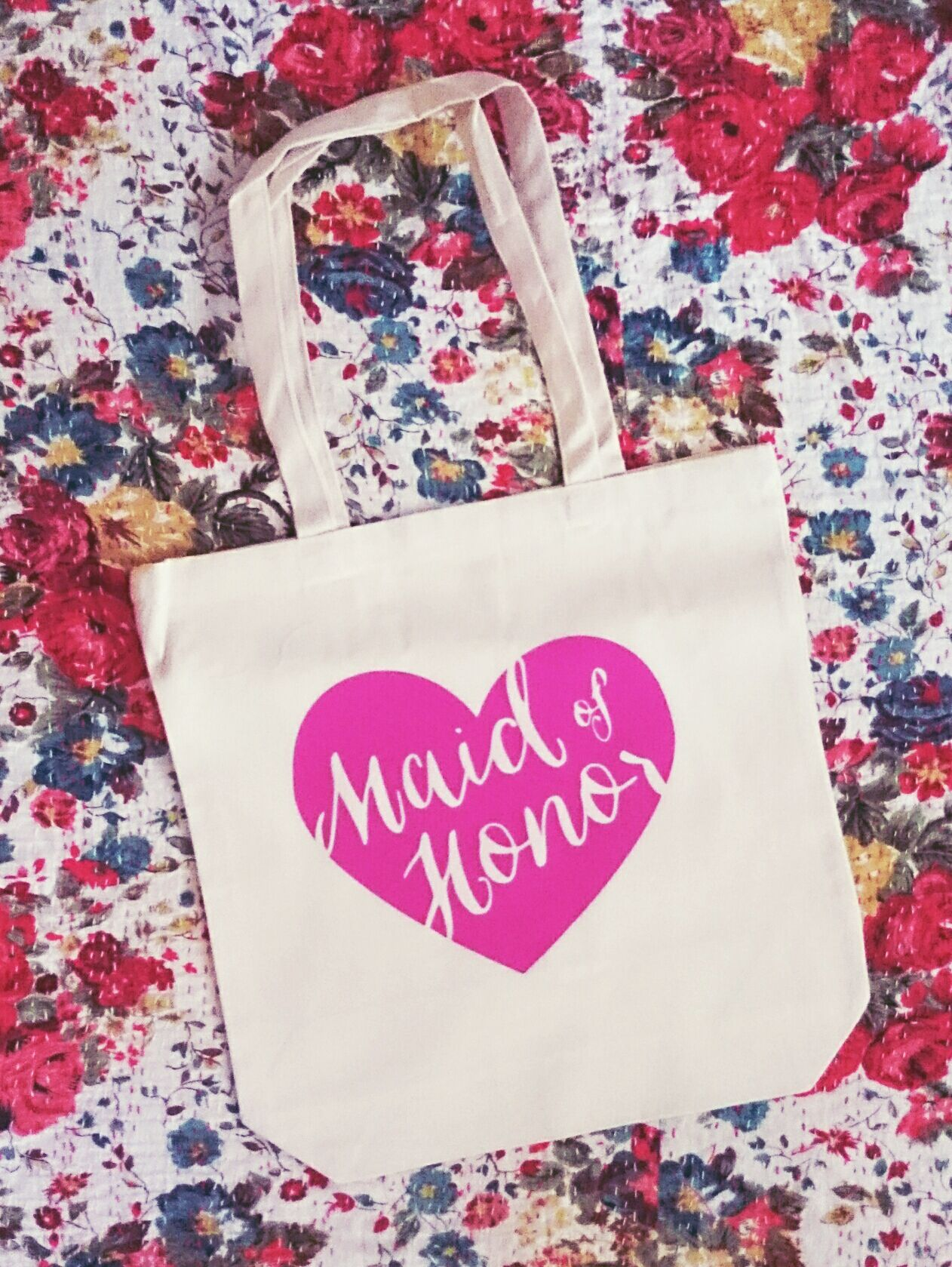 Maid Of Honor Pink Heart Calligraphy Tote Gift Bag Gifts For Your Bridesmaids