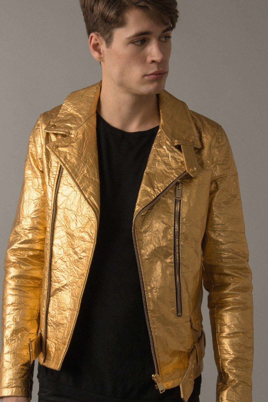 Altiir Men's Piñatex NeoClassic Biker Jacket Gold