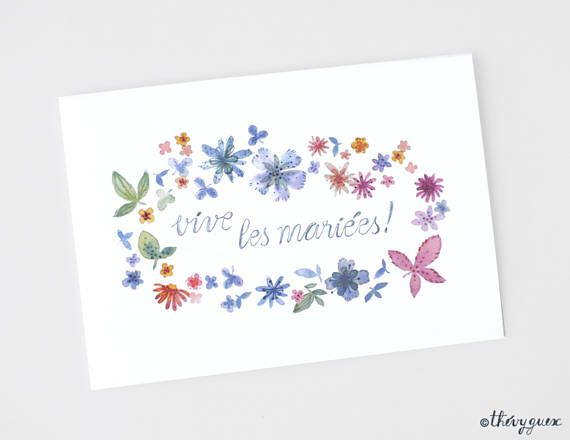 flower congratulations card flower watercolor card gay card weddind lesbian couple print