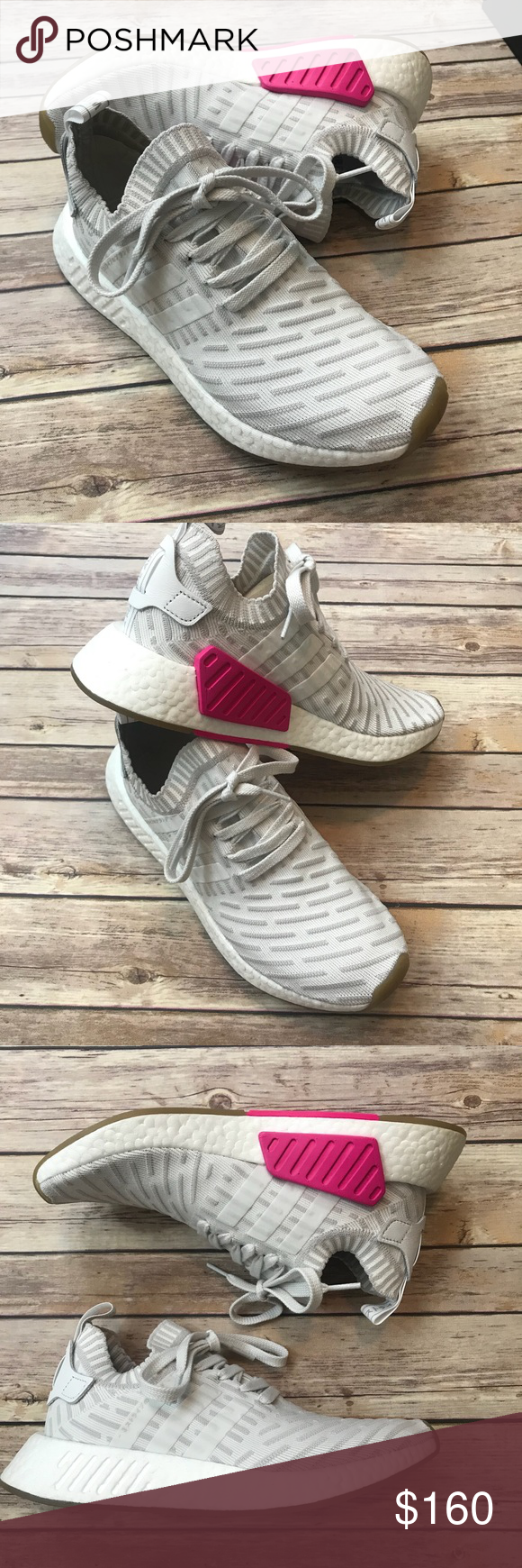 adidas nmd primeknit rosa e scarpe bianche con una scatola nuova di zecca
