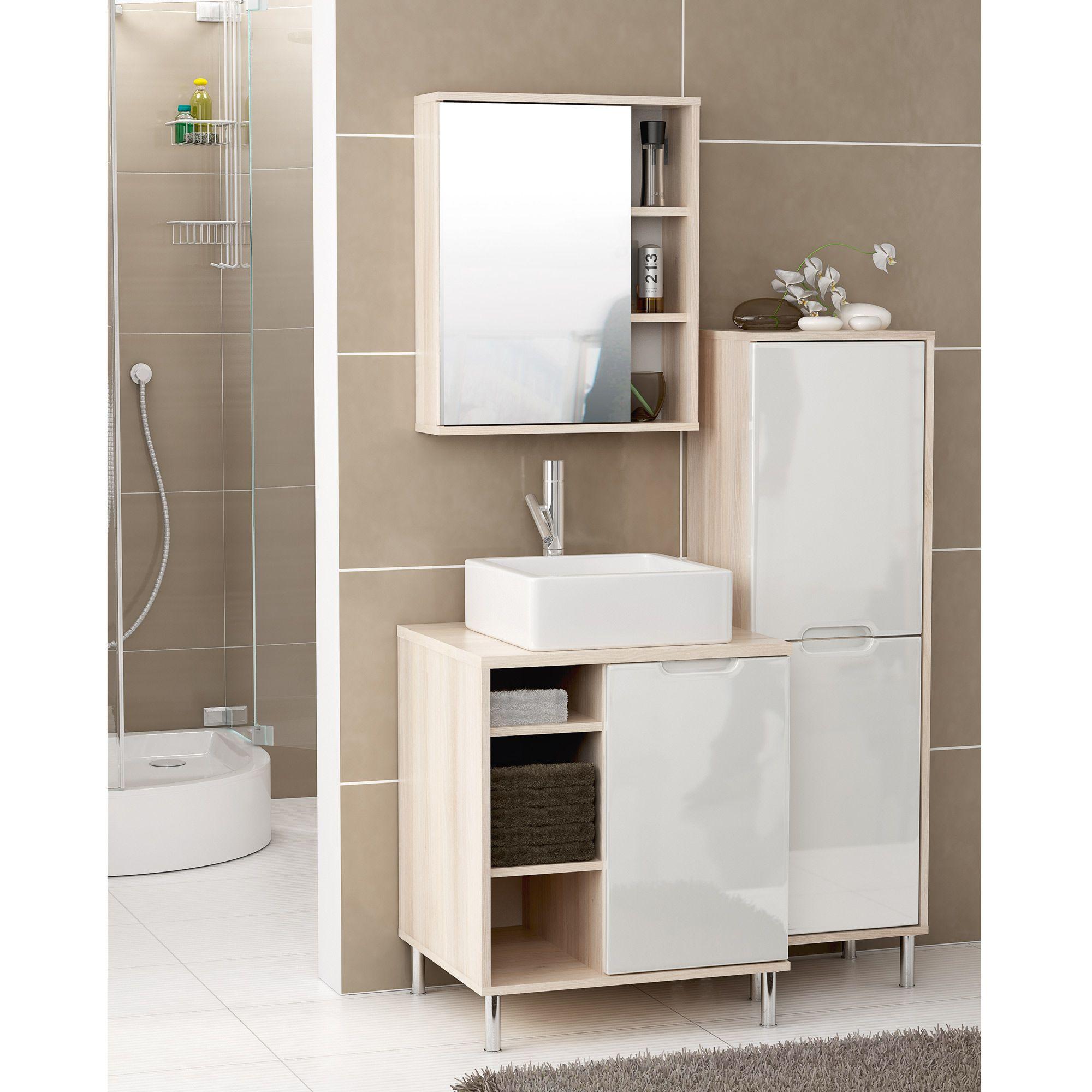 Meuble Haut Salle De Bain Avec Miroir meuble sous vasque + meuble haut avec miroir rosas | | salle