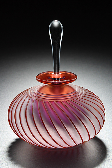 "'Twist Art Glass Perfume Bottle' [Aurora Twist]  [Designer ~Mary Angus~]  [Lively twists of sandblasted and etched blown glass. 4.75"" x 3.75""]"