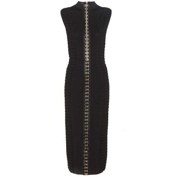 Balmain Embellished Body-Con Dress (4.690 BRL) ❤ liked on Polyvore featuring dresses, black, embellished dress, body conscious dress, bodycon dress, embellished bodycon dress and body con dresses