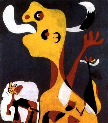 Mujer y perro cara a la luna by Joan Miró