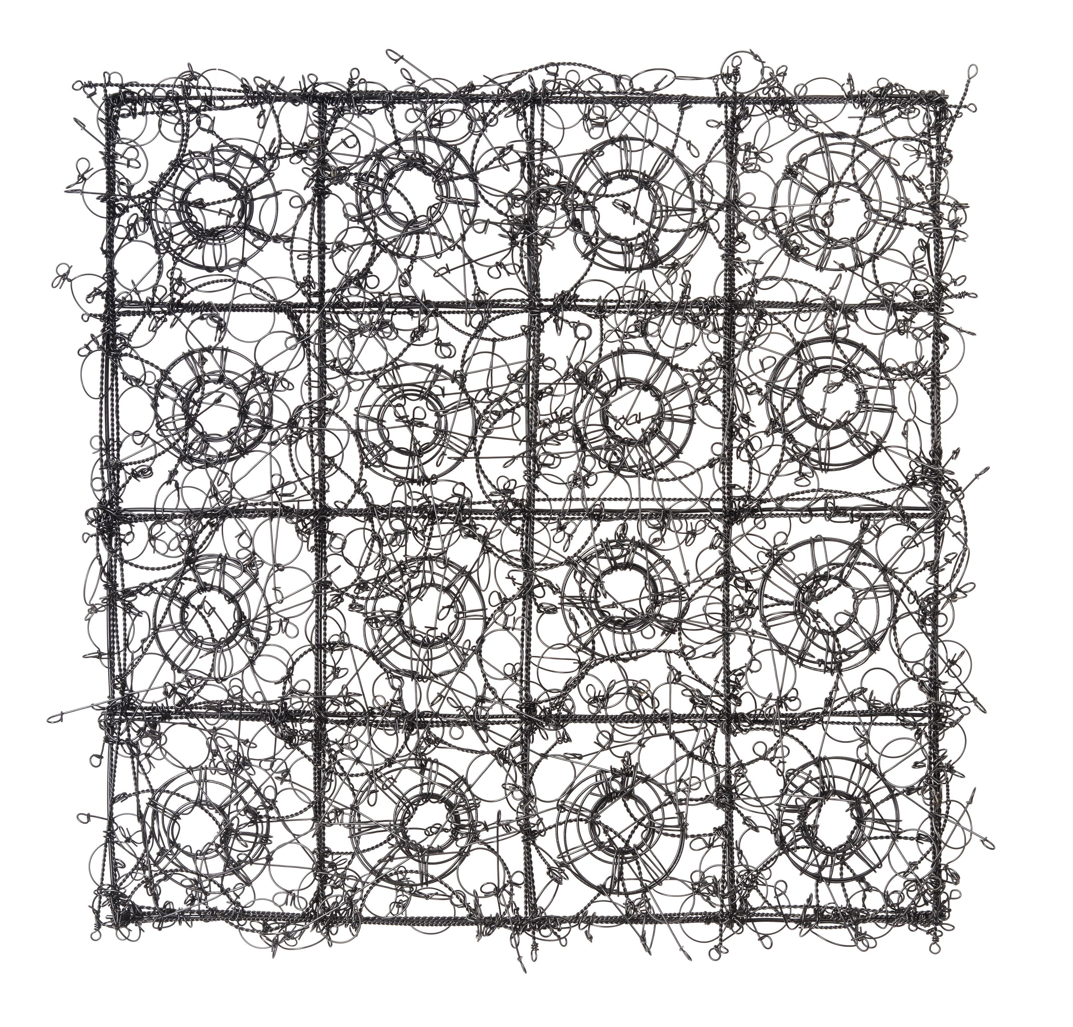 John Garrett, Circle Grid No. 8, Steel wire, paint, rebar ties, wire ...