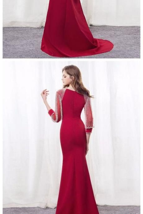 Simple Prom Dresses,Red Prom Gown,Vintage Prom Gowns,Elegant Evening ...