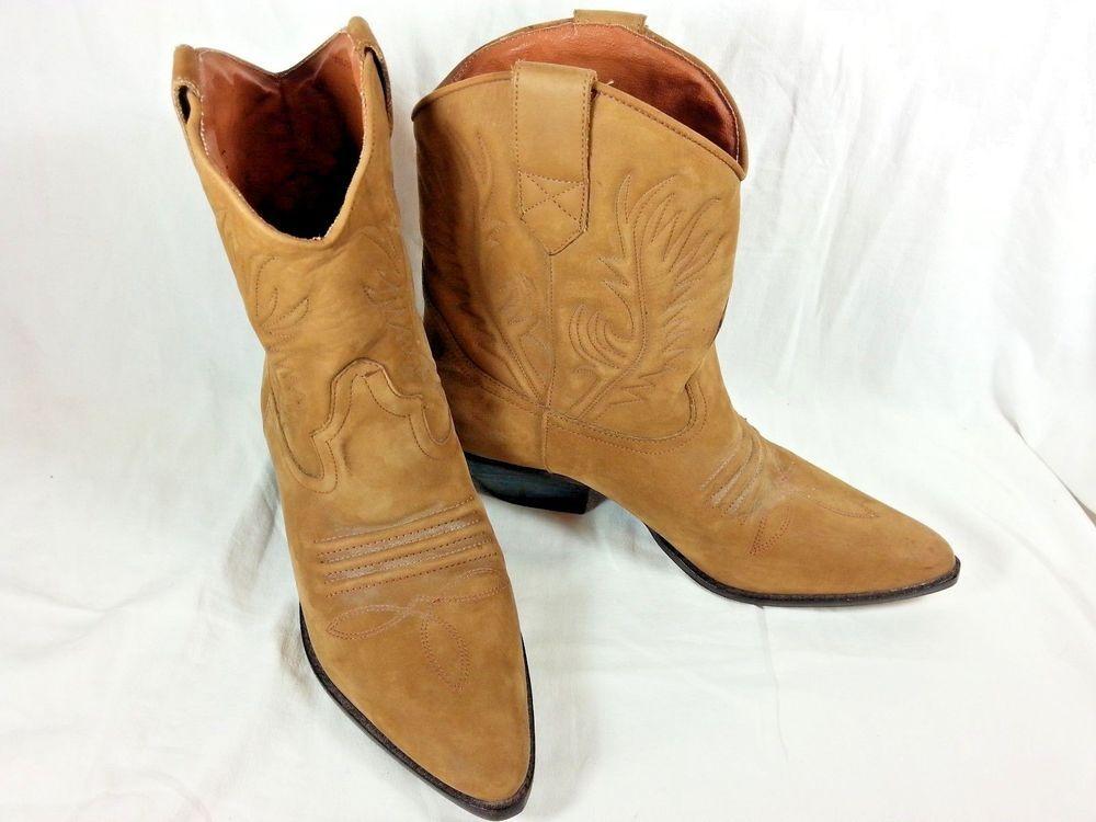 Western Cowboy Boots Men Medium calf Genuine Leather Mens