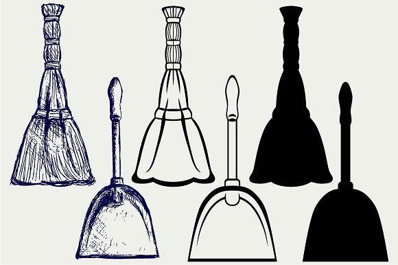 Broom and dustpan. Pattern Vectors. $2.00