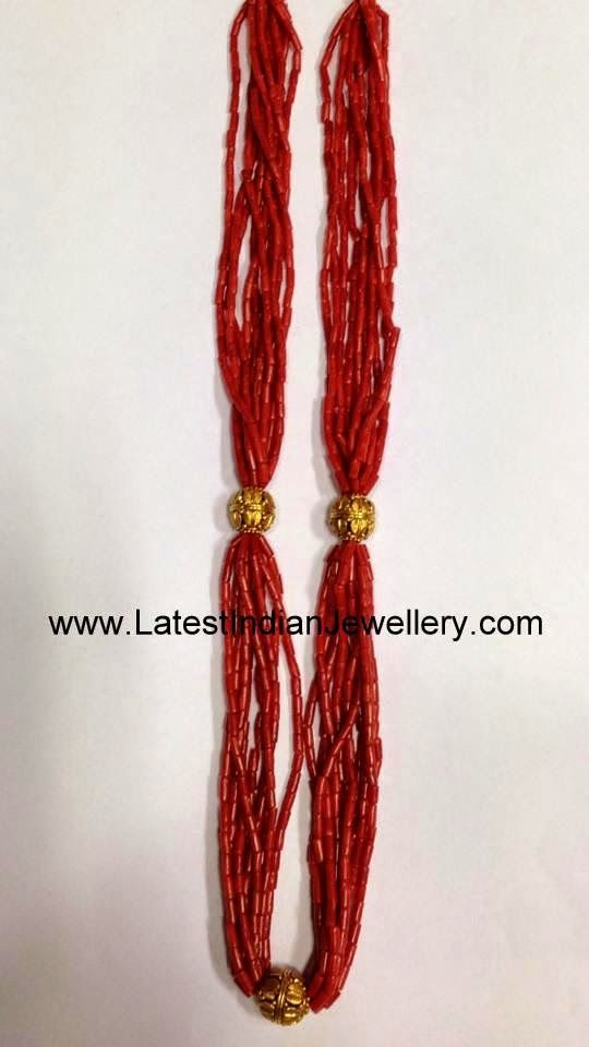 Trendy Coral Beads Gold Necklace | Indian gold necklace, Gold ...