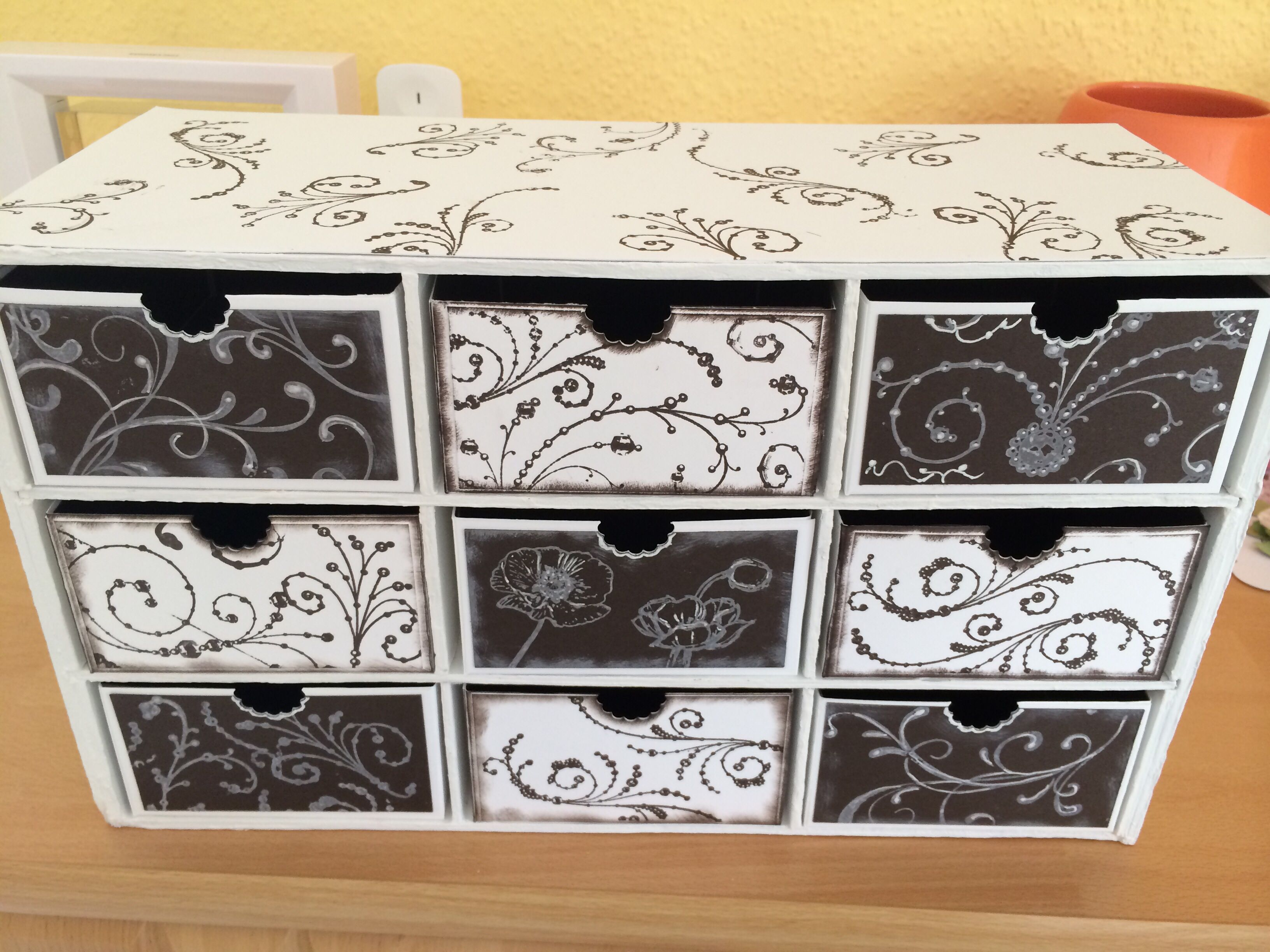 schubladenbox aus graupappe f r meine dekobl mchen verpackungen aufbewahrung pinterest. Black Bedroom Furniture Sets. Home Design Ideas