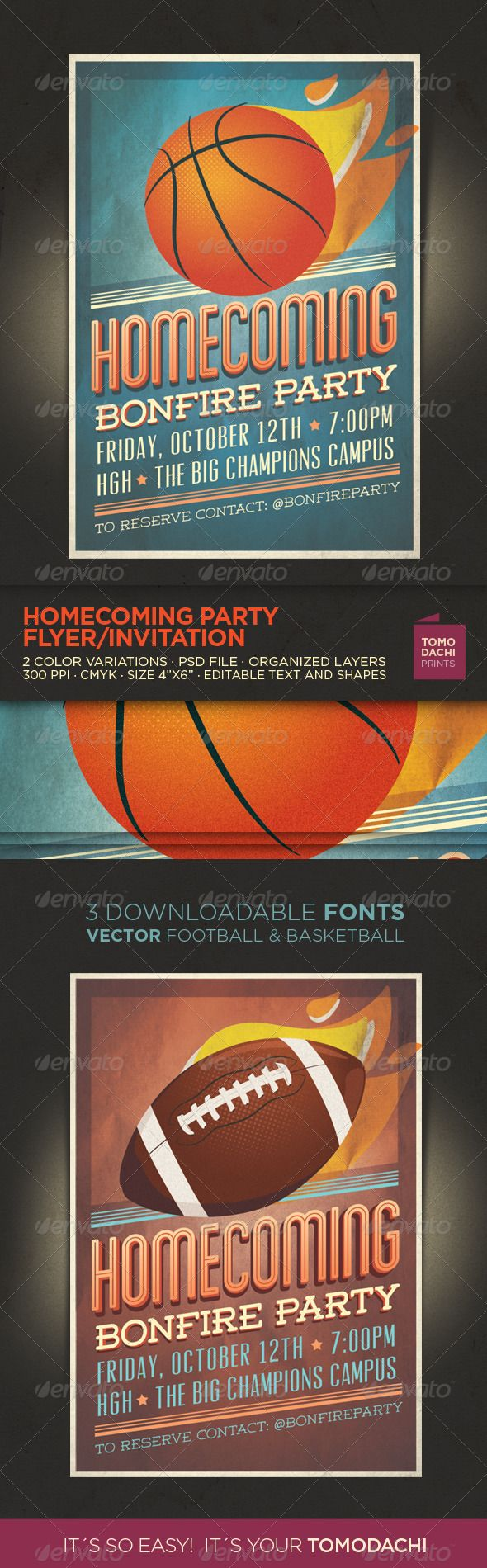 Homecoming Flyer Invitation Fonts Graphic Design Inspiration