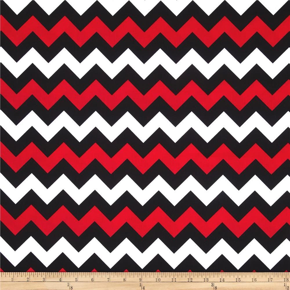 Chevron print fabric by the yard - Riley Blake Wide Cut Chevron Medium Red Black 10 98 Per Yard