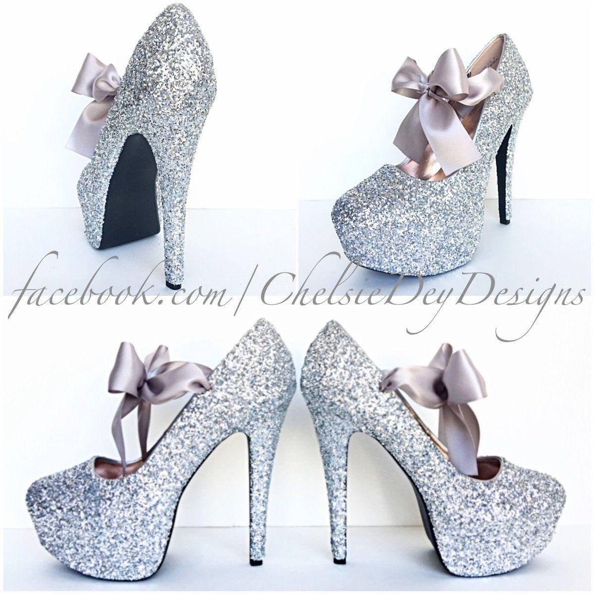 Silver Glitter High Heels, Grey Wedding