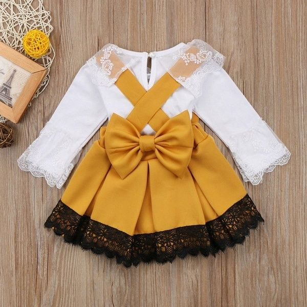 0-24M Newborn Baby Girl Lace Jumpsuit Romper Bodysuit Party Bowknot Skirt Dress Outfit | Wish