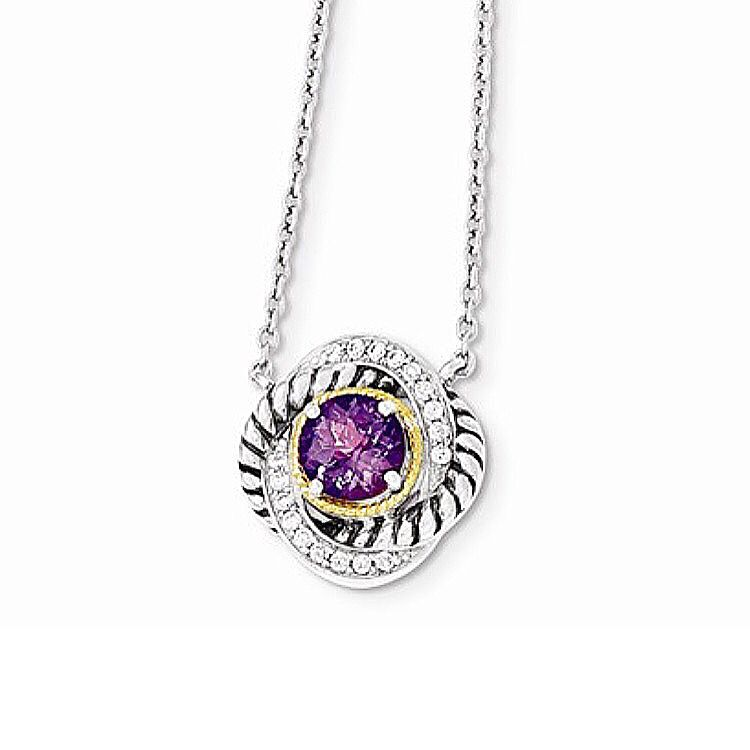Sterling Silver and 14k Gold CZ and Amethyst Necklace