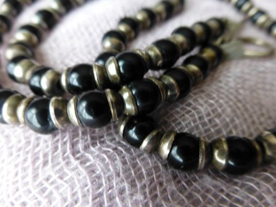 Black Onyx and Sterling Silver Necklace by ChicAvantGarde on Etsy, $125.00