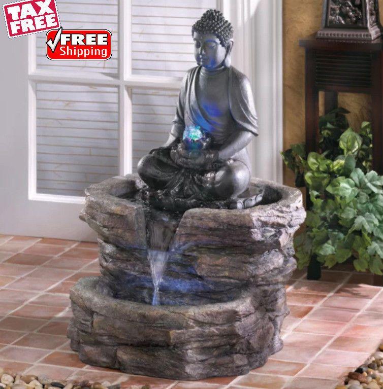 Buddha Lighted Water Fountain Resin Statue Cascading Waterfall Garden Zen Decor Buddhalightedwaterfountainzngz Water Fountain Water Lighting Zen Decor