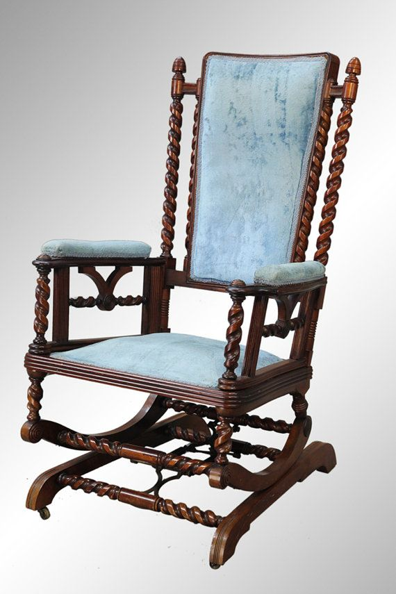Antique Rare Barley Twist Hunzinger Platform Rocker C 1880