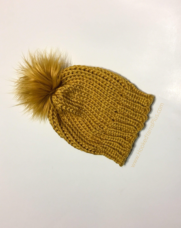 Women s Mustard Yellow Gold Knit Hat w  Faux Fur Pom Pom 2cabfb155d59