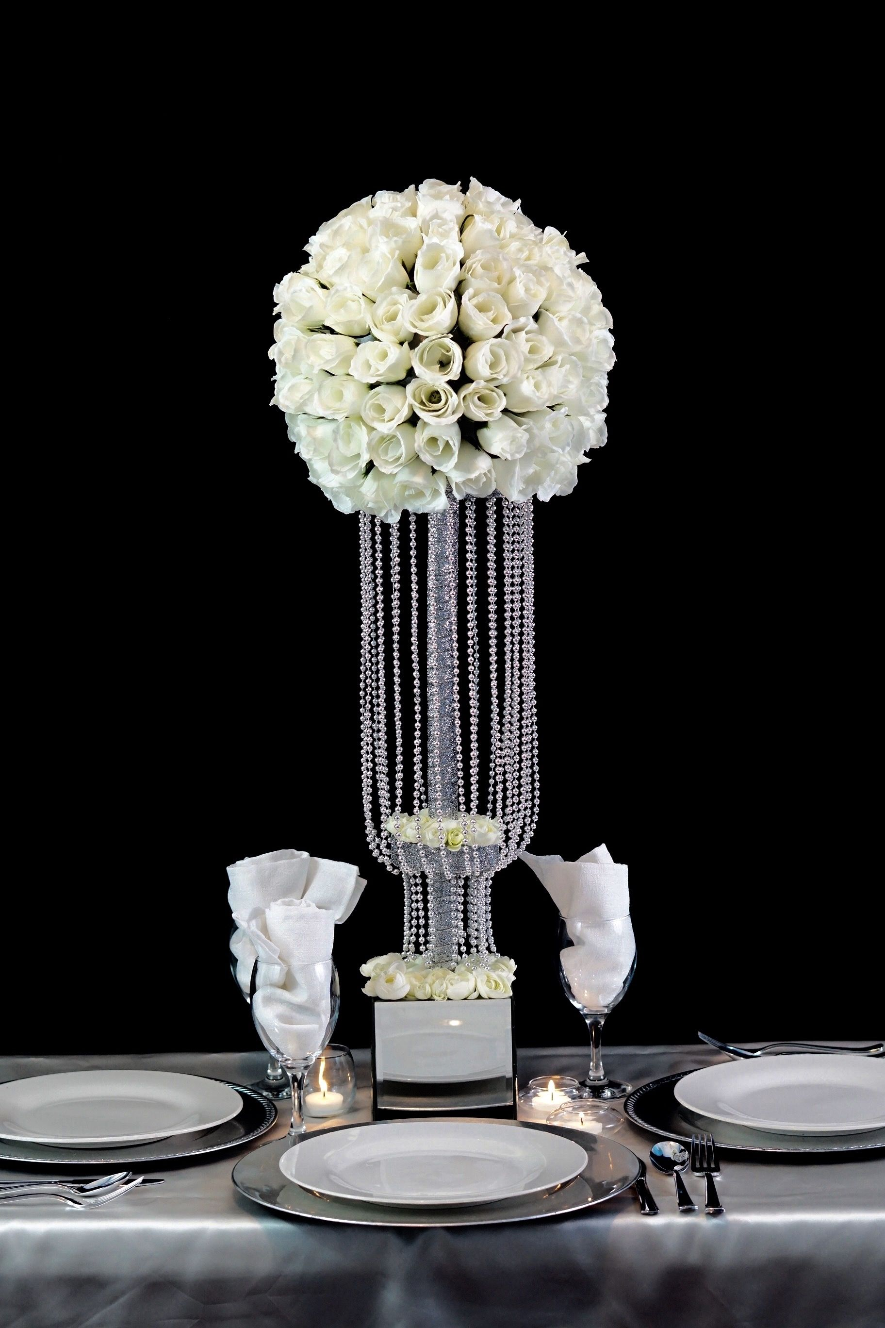 Tall Waterfall Centerpiece 19 Bridal Shower Centerpieces