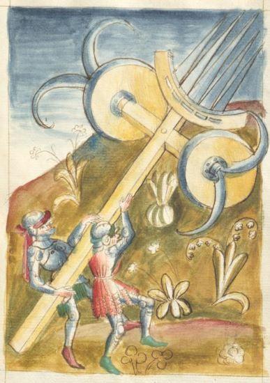 Bellifortis VerfasserKyeser, Conradus  ErschienenElsaß, [um 1460] Ms. germ. qu. 15  Folio 57r