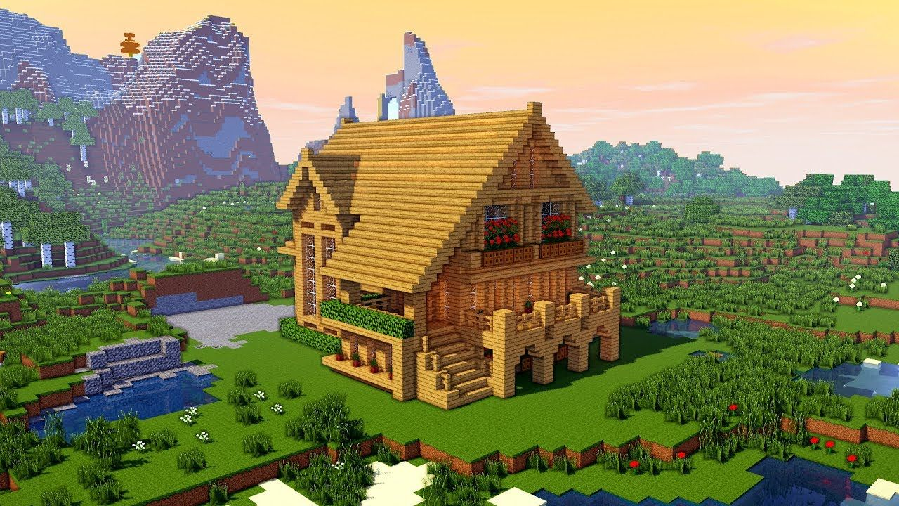 Minecraft How To Build A Large Wooden Mansion Tutorial Https