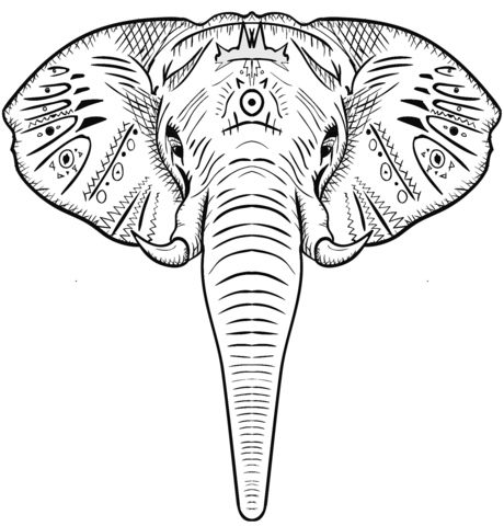 Cabeza De Elefante Para Colorear Malvorlagen Elefantenkopf Elefanten