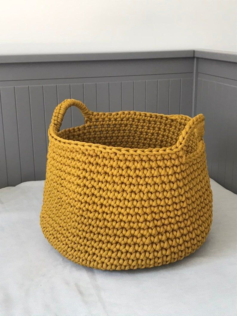 Crochet Storage Basket Mustard Basket Kids Room Toy Basket Living Room Organizer Laundry Basket Crochet Storage Baskets Crochet Storage Storage Baskets #storage #baskets #for #living #room