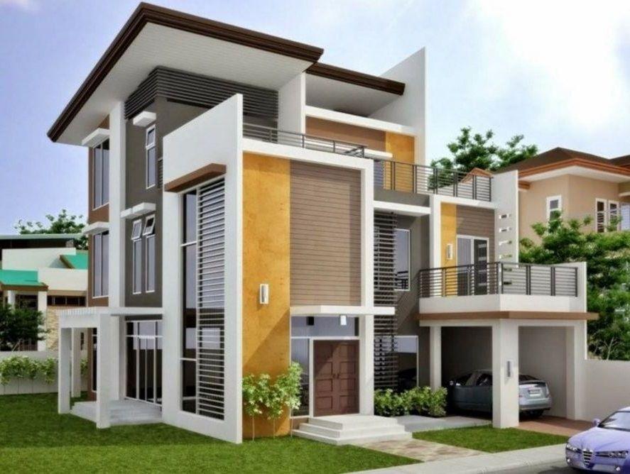 Fachada Moderna De 3 Pisos Con Balcones Y Ventanales Diseno Casas Modernas Plano De Fachada Casa Estilo