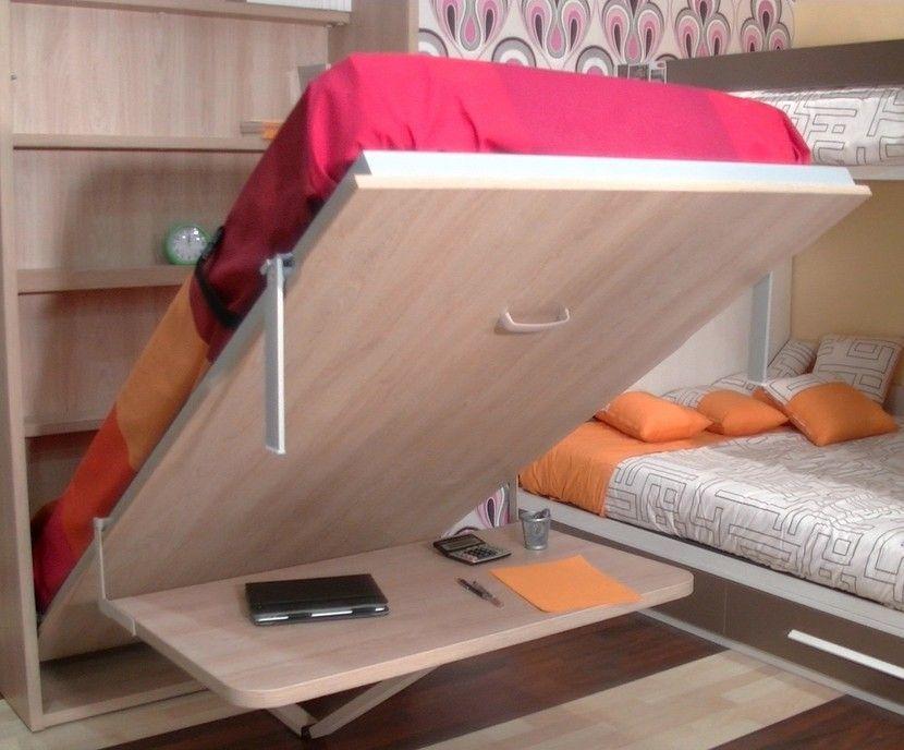 Cama abatible vertical individual con foto y estantes interiores ...