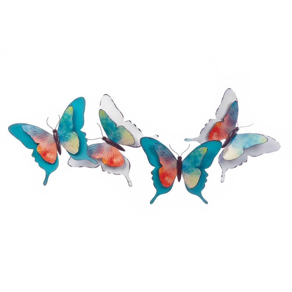 Watercolor d art white turquoise butterflies wall décor in