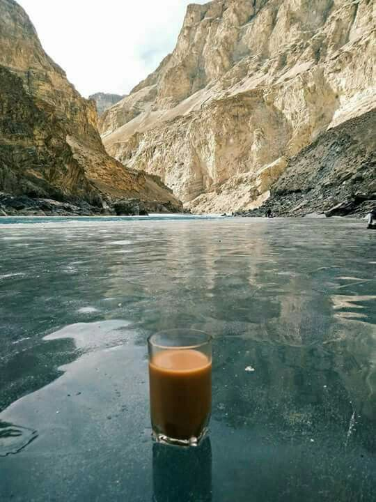 Join us a hot cup of tea on frozen Attabaad Lake Gilgit Pakistan