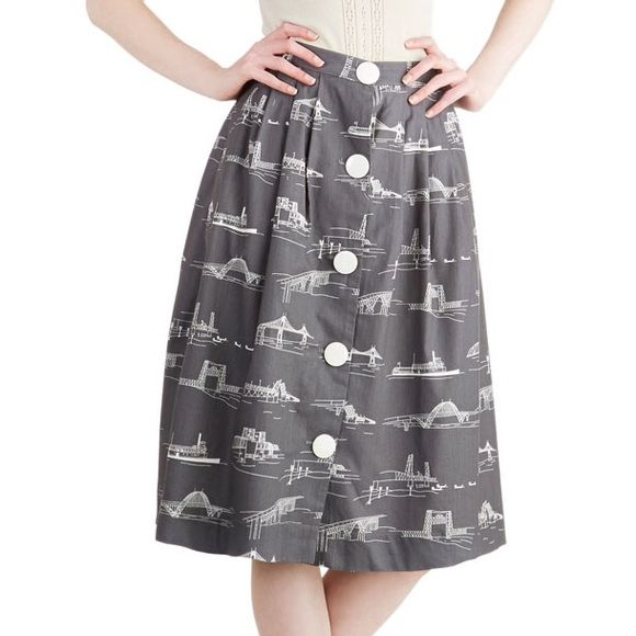 73fdf6c37f4 ModCloth Shore to Shore skirt plus size Gray and white printed skirt with  illustrations of bridges on it and white buttons down the front.