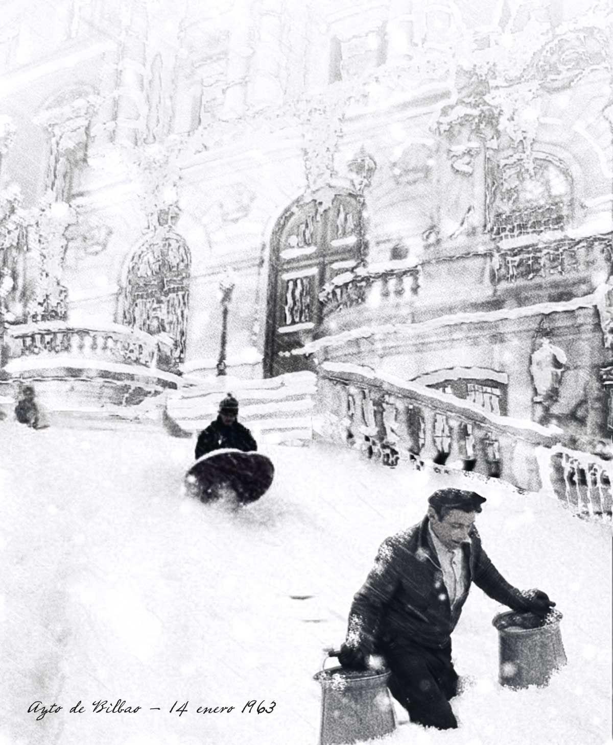 14 de enero 1963 - Gran nevada sobre Bilbao. En el Ayuntamiento se alcanzaron los 2,47 metros de espesor de nieve. (Foto Udal Artxiboa).