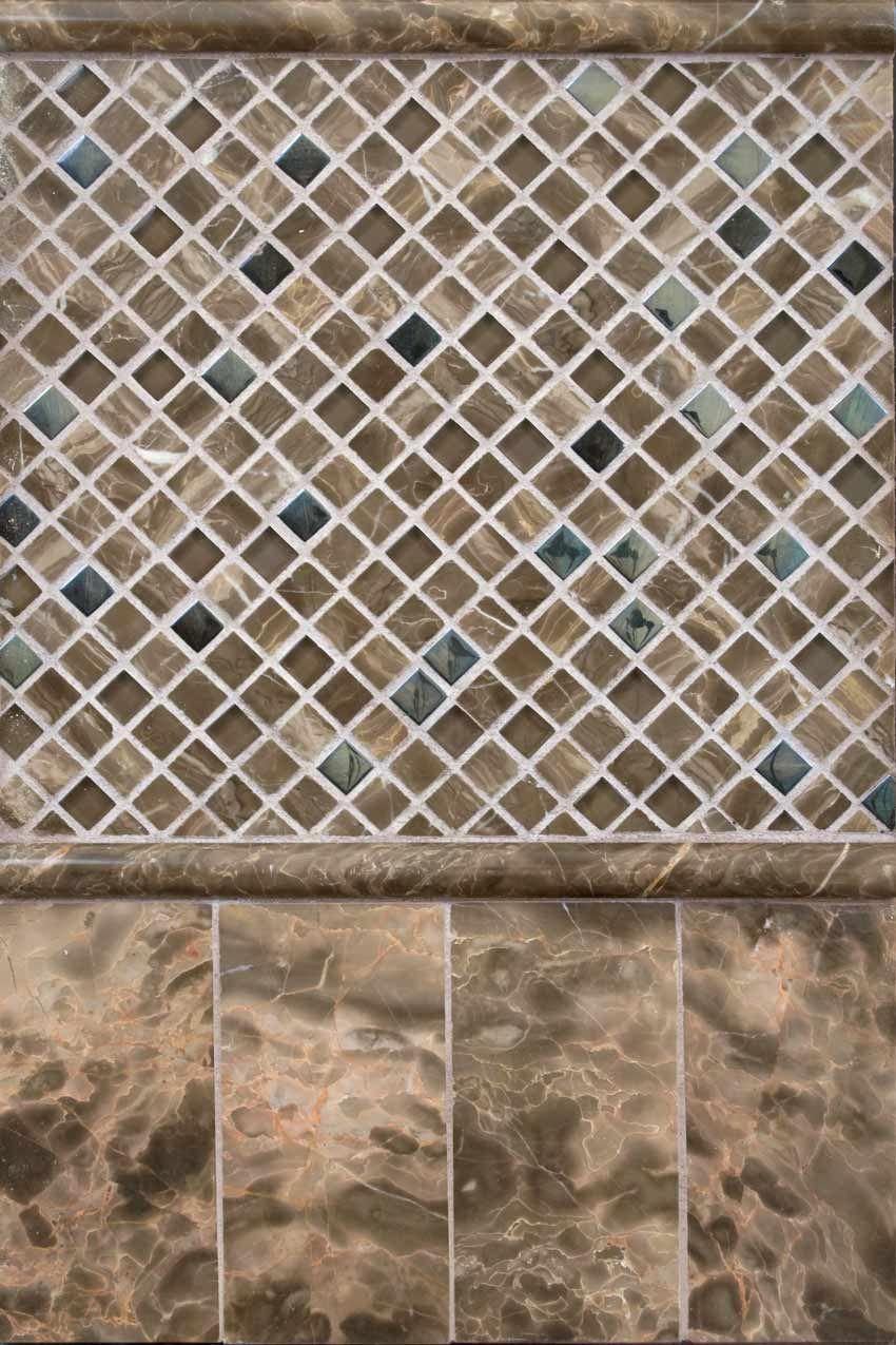 emperador cafe marble and glass blend backsplash tilemsi stone
