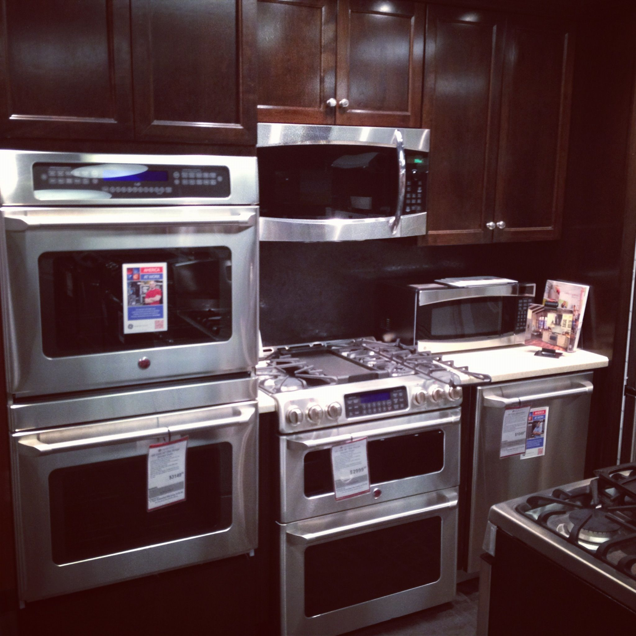 GE cafe Kitchen at Gerhards Appliances with a gas double oven slide ...